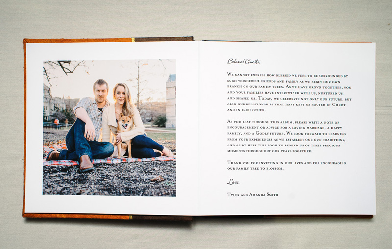 guest book and wedding album introduction pages